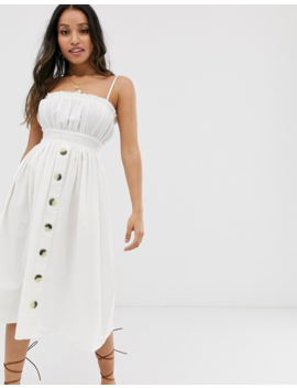 Asos Design Petite Cami Button Through Midi Linen Sundress by Asos Design