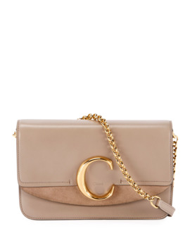 C Shiny & Suede Calfskin Clutch With Chain by Chloe