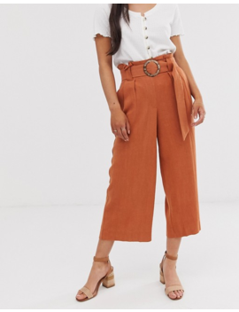 New Look Petite Crop Pants With Belt In Rust by New Look