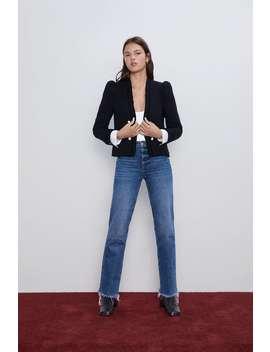 Tweed Jacket With Poplin Blazerswoman by Zara