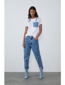 T Shirt With Denim Pocket View All T Shirts Trf by Zara