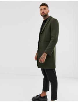 Asos Design Wool Mix Overcoat In Khaki by Asos Design