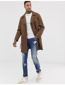 Asos Design Double Breasted Linen Look Trench Coat by Asos Design