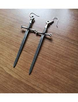 Antique Silver Sword Earrings, Dagger Earrings, Gothic Jewellery, Medieval Earrings by Etsy