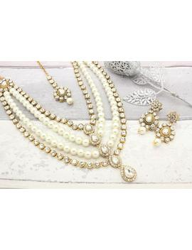 Gold Silver Pearl Kundan Layred Indian Bollywood Necklace Jewellery Set With Tikka & Earrings Wedding by Etsy