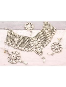 Silver Indian Bollywood Necklace Set With Earrings & Tikka Headpiece Bridal Wedding Jewellery Set by Etsy