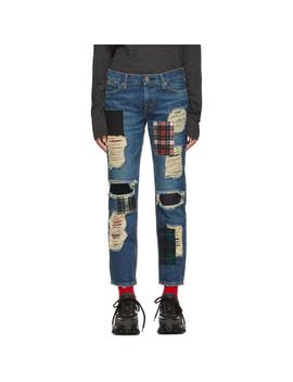 Indigo Denim Patchwork Jeans by Junya Watanabe
