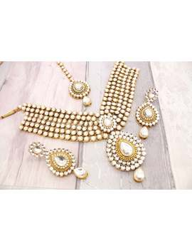 Gold Indian Bollywood Necklace Set With Earrings, Tikka Headpiece Bridal Wedding by Etsy