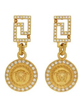 Gold Crystal Medusa Drop Earrings by Versace