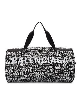 Black & White Logo Wave Gym Bag by Balenciaga