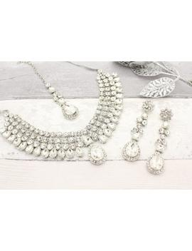 Silver Indian Bollywood Necklace Set With Earrings, Tikka Headpiece Bridal Wedding by Etsy