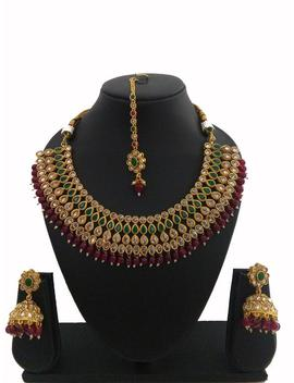 Indian Jewelry Choker Necklace Set Earring Tikka Bollywood Necklace Earring Tikka Set Ethnic Gold Plated Traditional Set by Etsy