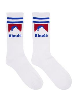White & Blue Mountain Logo Socks by Rhude