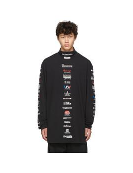 Black Logo List Long Sleeve T Shirt by Balenciaga