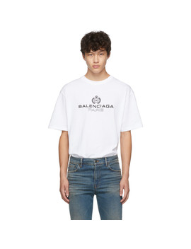 White Paris Laurel Regular Fit T Shirt by Balenciaga