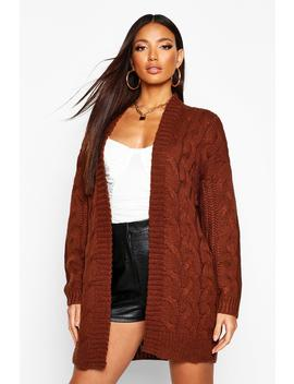 Cable Knit Chunky Longline Cardigan by Boohoo