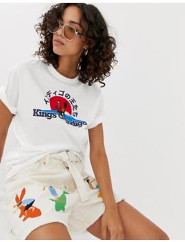 Kings Of Indigo   T Shirt In Cotone Biologico Con Logo by Kings Of Indigo