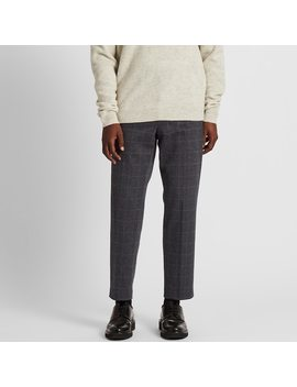 Men Ezy Jersey Windowpane Checked Ankle Length Trousers by Uniqlo