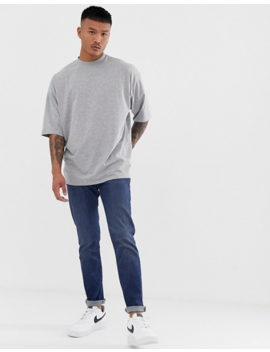 Asos Design Oversized T Shirt With Side Split In Gray Marl by Asos Design