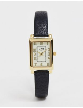 Limit Rectangular Faux Leather Watch In Black by Limit