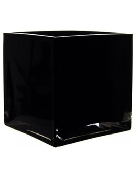 "Black Glass Square Vase, 6"" by Cys Excel, Inc"