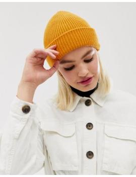 Asos Design – Orange Boyfriend Mössa I återvunnen Polyester Med Dubbelt Uppvikt Kant by Asos Design