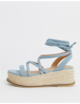 Asos Design Tabby Flatform Sandals In Denim by Asos Design