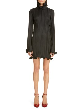 Ruffle Trim Long Sleeve Plissé Minidress by Givenchy