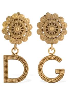 Small Logo Pendant Clip On Earrings by Dolce & Gabbana