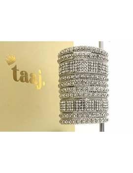 Silver Diamanté Kara Bangle Churi Bracelet Kangan 10 Piece Set by Etsy