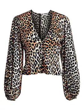 Stretch Silk Satin Leopard Print Crop Blouse by Ganni