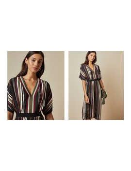 Short Sleeved Striped Midi Dress by Ted Baker