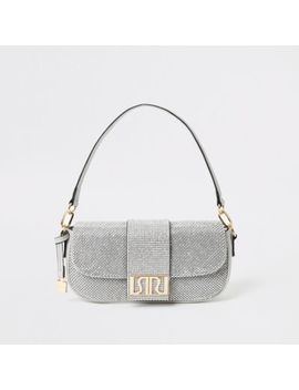 Silver Ri Diamante Underarm Bag by River Island