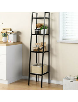 4 Tiers Ladder Storage Unit Bookcase Shelving Wall Side Display Shelf Organizer by Ebay Seller