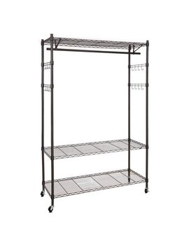 3 Tier Heavy Duty Rolling Garment Rack Clothes Hangers With Wheels, Wire Shelving Clothing Rolling Rack With Side Hooks by Homdox