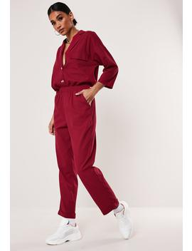 Red Co Ord Linen Look Pants by Missguided