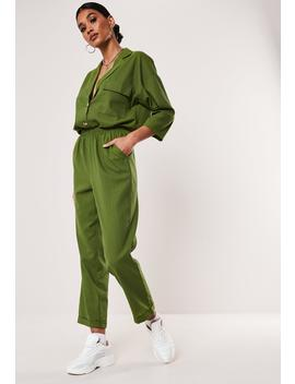 Khaki Co Ord Linen Look Pants by Missguided