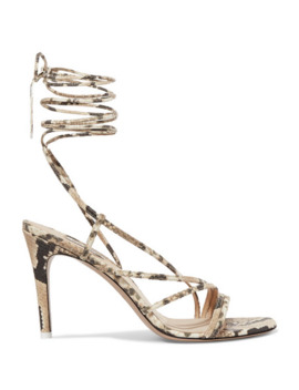 Snake Effect Leather Sandals by Attico
