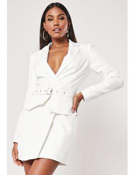 White Belted Waist Blazer Dress by Missguided