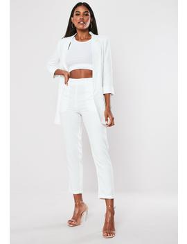 Petite White Co Ord Cigarette Pants by Missguided