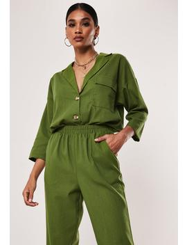 Khaki Co Ord Linen Look Shirt by Missguided