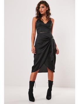 Petite Black Wrap Tie Slip Skirt by Missguided
