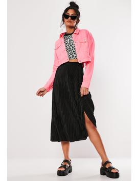 Black Plisse A Line Midi Skirt by Missguided