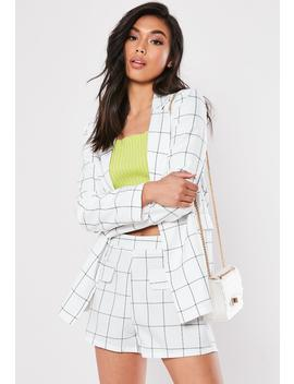 White Plaid Co Ord Linen Tailored Shorts by Missguided