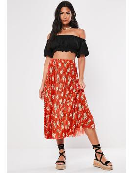 Red Floral Plisse Midi Skirt by Missguided