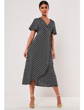 Black Polka Dot Print Wrap Front Midi Dress by Missguided