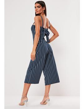 Stripe Tie Back Cut Out Culotte Jumpsuit by Missguided