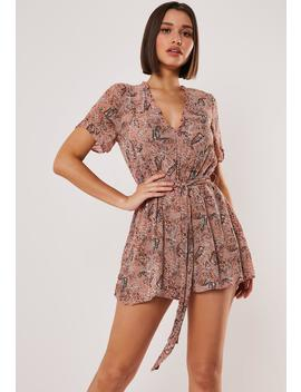 Blush Floral Print Ruffle Sleeve Romper by Missguided