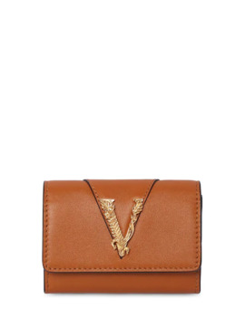 Smooth Leather Coin Case Wallet by Versace