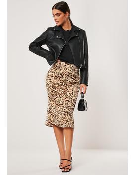 Gold Animal Print Satin Midi Skirt by Missguided